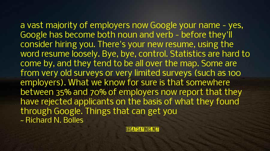 Racism's Sayings By Richard N. Bolles: a vast majority of employers now Google your name - yes, Google has become both