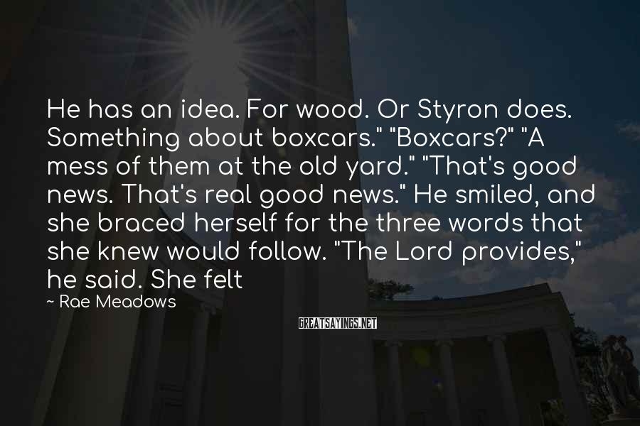 """Rae Meadows Sayings: He has an idea. For wood. Or Styron does. Something about boxcars."""" """"Boxcars?"""" """"A mess"""