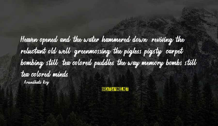 Rain And Tea Sayings By Arundhati Roy: Heaven opened and the water hammered down, reviving the reluctant old well, greenmossing the pigless