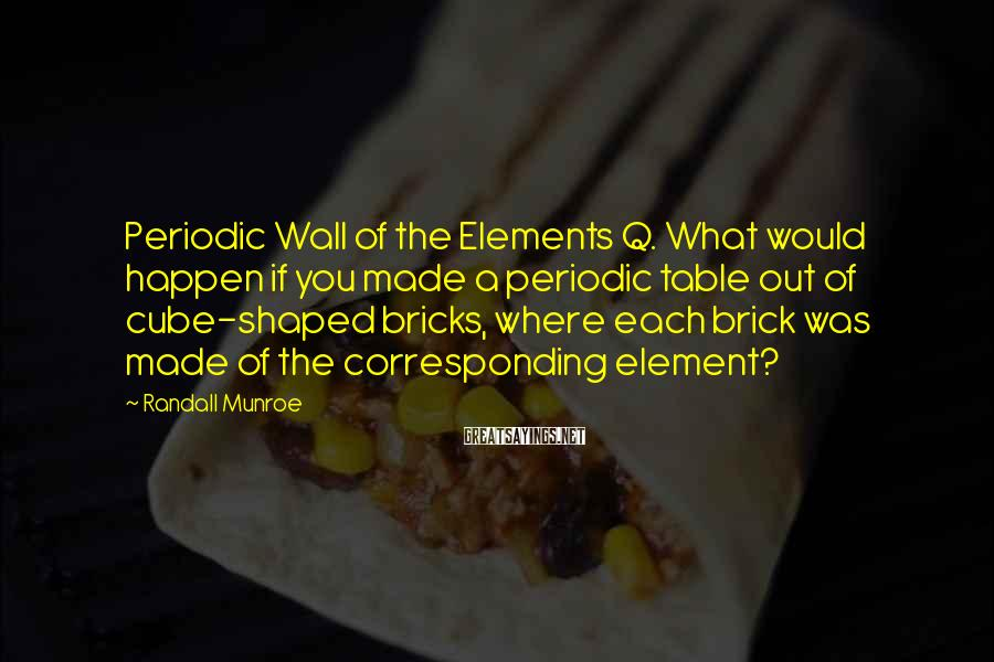 Randall Munroe Sayings: Periodic Wall of the Elements Q. What would happen if you made a periodic table