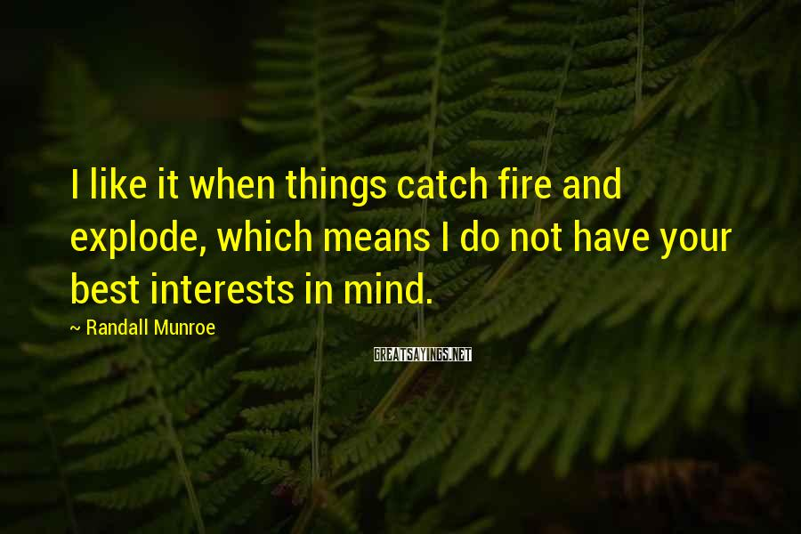 Randall Munroe Sayings: I like it when things catch fire and explode, which means I do not have