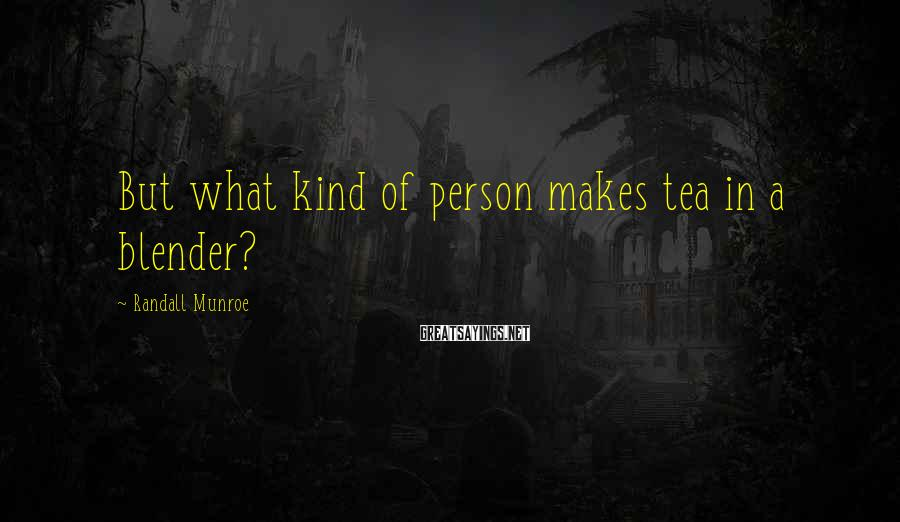 Randall Munroe Sayings: But what kind of person makes tea in a blender?