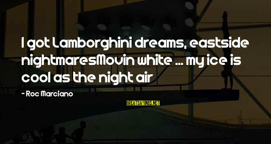 Ranganathan Sayings By Roc Marciano: I got Lamborghini dreams, eastside nightmaresMovin white ... my ice is cool as the night