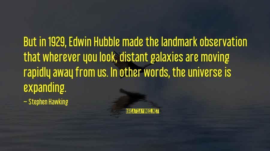 Rapidly Sayings By Stephen Hawking: But in 1929, Edwin Hubble made the landmark observation that wherever you look, distant galaxies