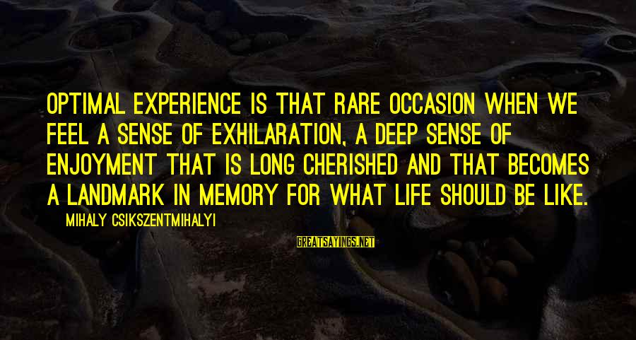 Rare Occasion Sayings By Mihaly Csikszentmihalyi: Optimal experience is that rare occasion when we feel a sense of exhilaration, a deep