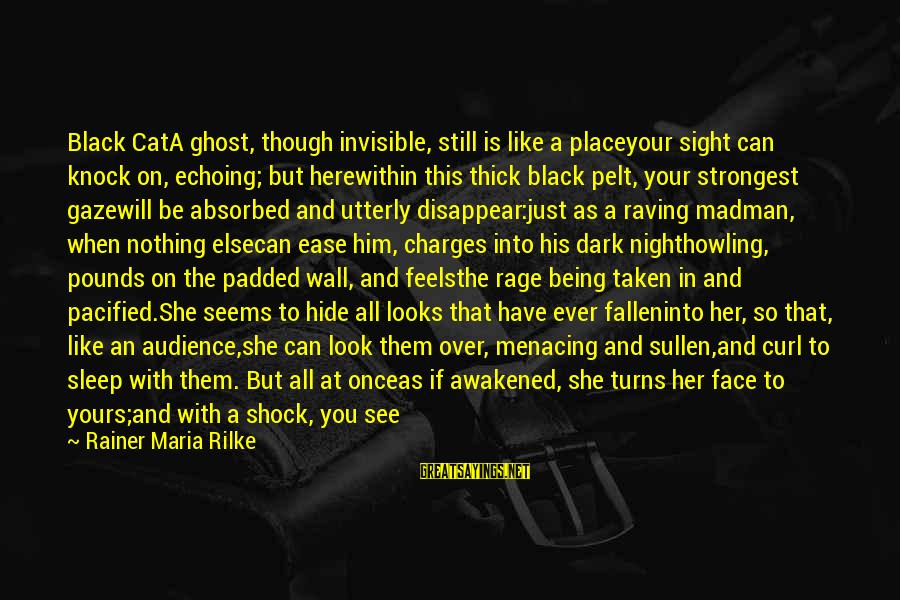Raving Sayings By Rainer Maria Rilke: Black CatA ghost, though invisible, still is like a placeyour sight can knock on, echoing;