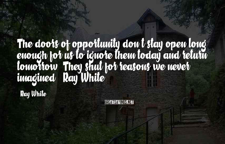 Ray White Sayings: The doors of opportunity don't stay open long enough for us to ignore them today