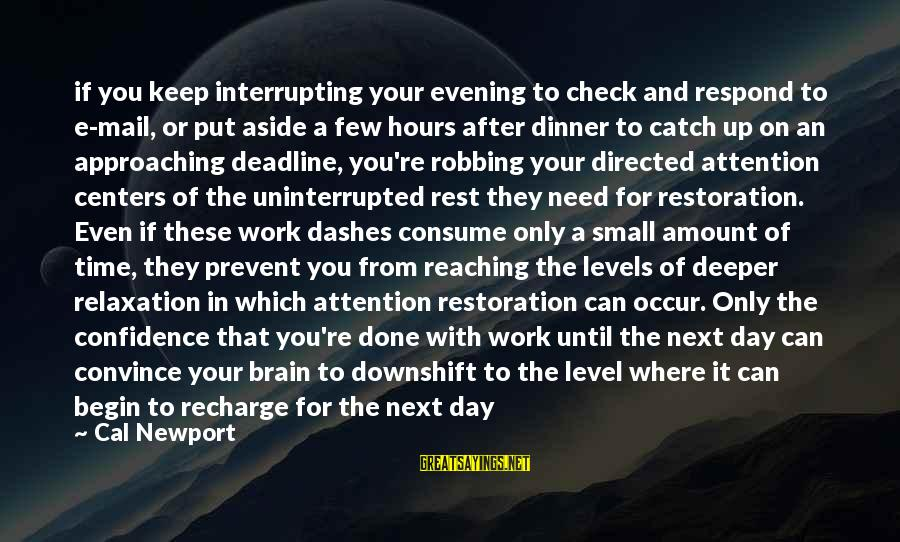 Reaching The End Sayings By Cal Newport: if you keep interrupting your evening to check and respond to e-mail, or put aside