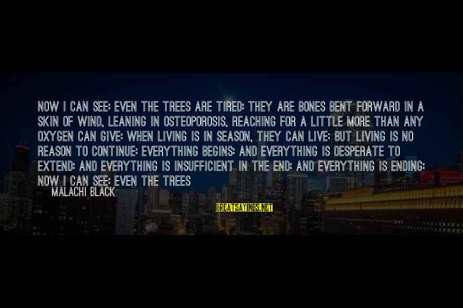 Reaching The End Sayings By Malachi Black: Now I can see: even the trees are tired: they are bones bent forward in