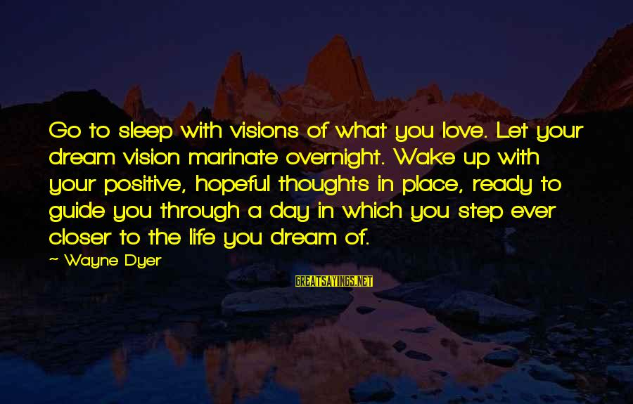 Ready To Go To Sleep Sayings By Wayne Dyer: Go to sleep with visions of what you love. Let your dream vision marinate overnight.