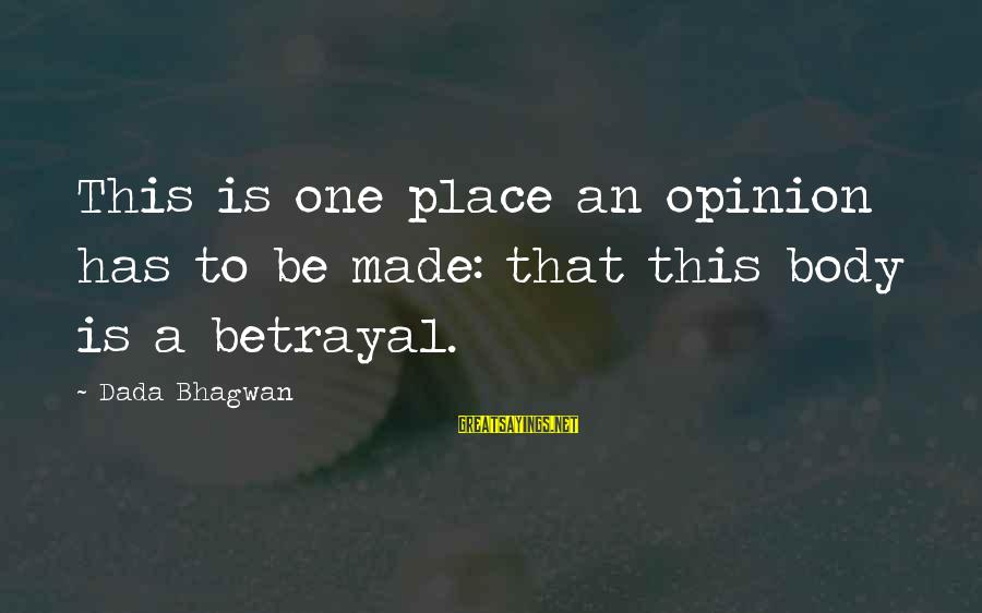Realisation Sayings By Dada Bhagwan: This is one place an opinion has to be made: that this body is a