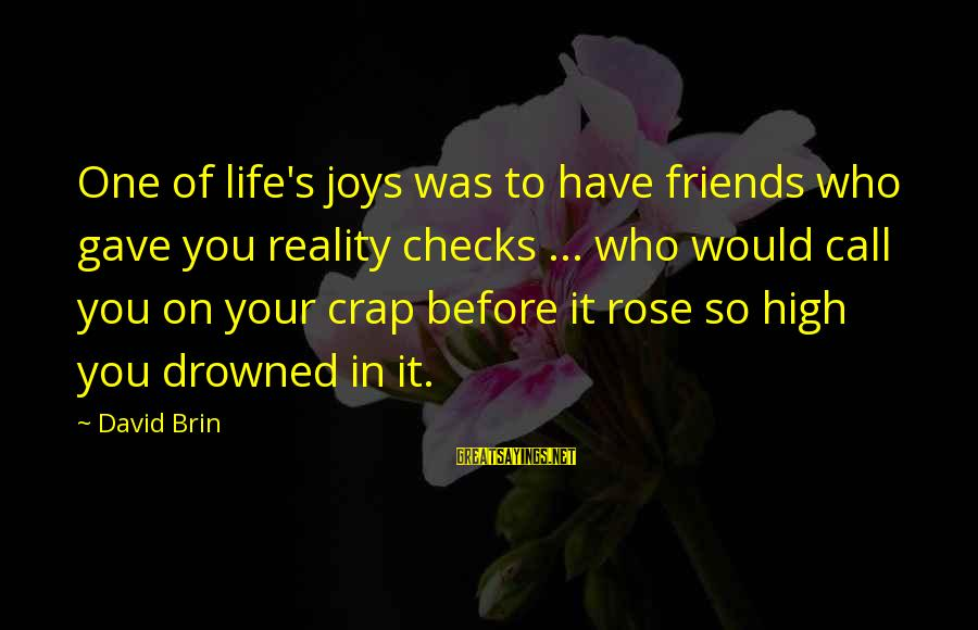 Reality Checks Sayings By David Brin: One of life's joys was to have friends who gave you reality checks ... who