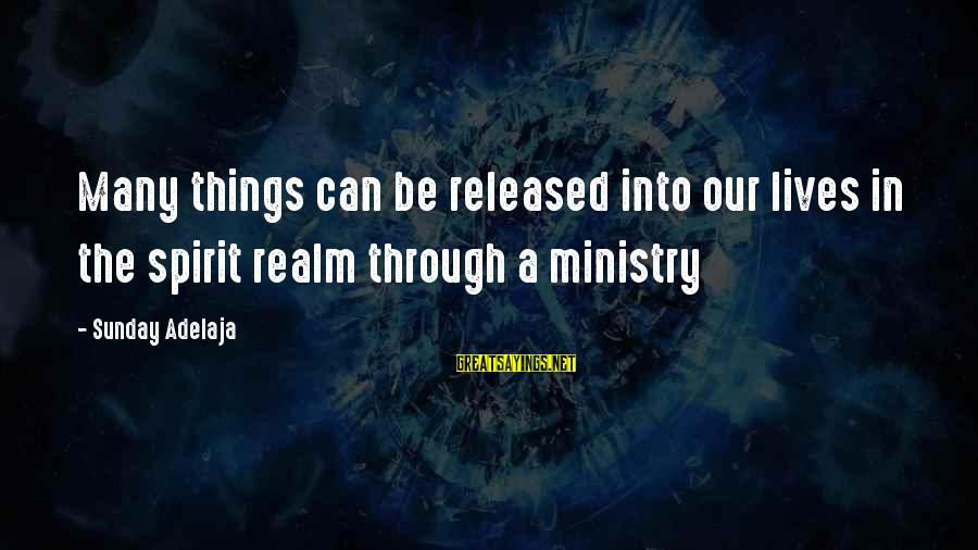 Reality'transcending Sayings By Sunday Adelaja: Many things can be released into our lives in the spirit realm through a ministry