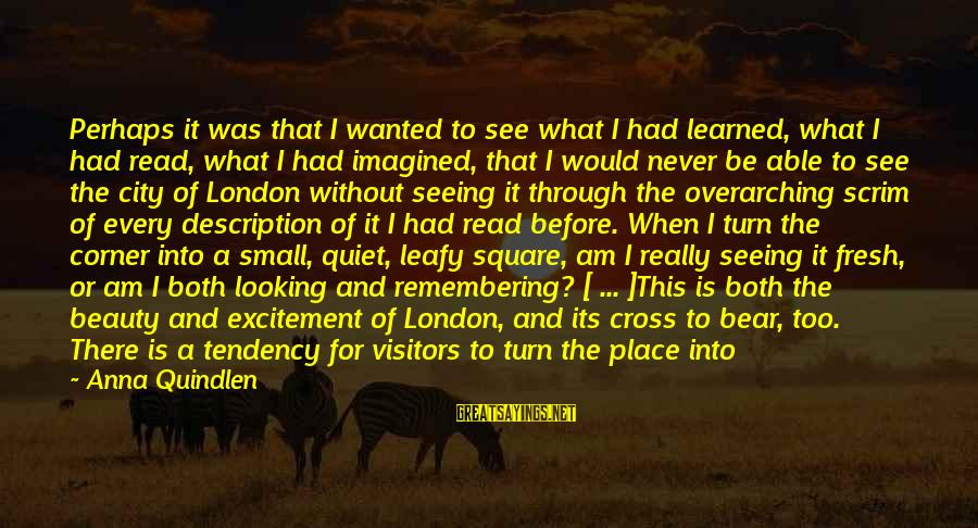 Really White Sayings By Anna Quindlen: Perhaps it was that I wanted to see what I had learned, what I had