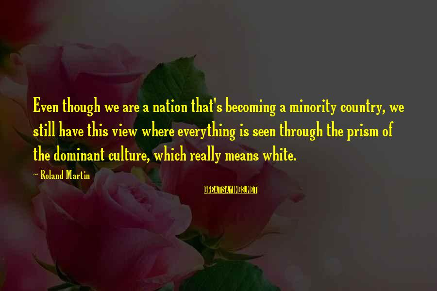 Really White Sayings By Roland Martin: Even though we are a nation that's becoming a minority country, we still have this
