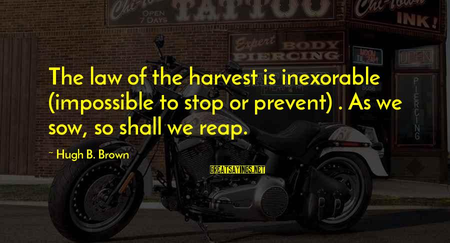 Reap Harvest Sayings By Hugh B. Brown: The law of the harvest is inexorable (impossible to stop or prevent) . As we