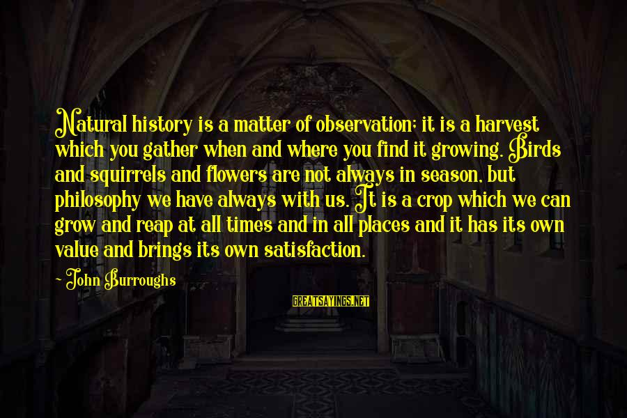 Reap Harvest Sayings By John Burroughs: Natural history is a matter of observation; it is a harvest which you gather when