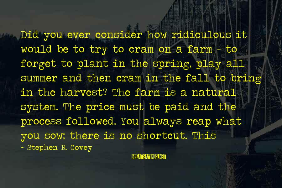 Reap Harvest Sayings By Stephen R. Covey: Did you ever consider how ridiculous it would be to try to cram on a
