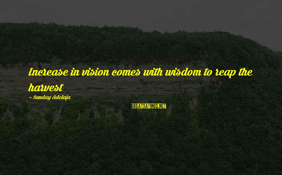 Reap Harvest Sayings By Sunday Adelaja: Increase in vision comes with wisdom to reap the harvest
