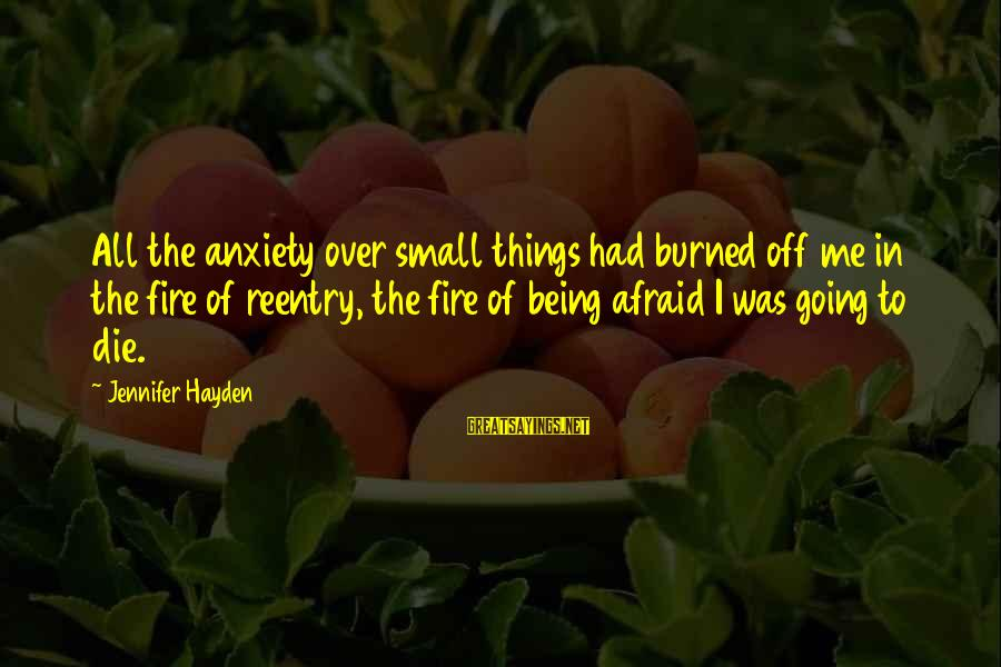Reentry Sayings By Jennifer Hayden: All the anxiety over small things had burned off me in the fire of reentry,