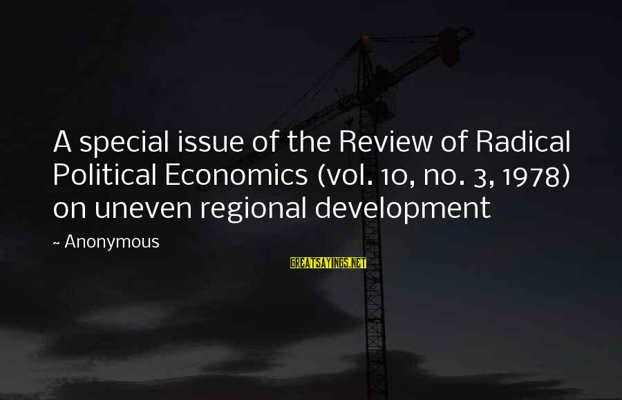 Regional Sayings By Anonymous: A special issue of the Review of Radical Political Economics (vol. 10, no. 3, 1978)