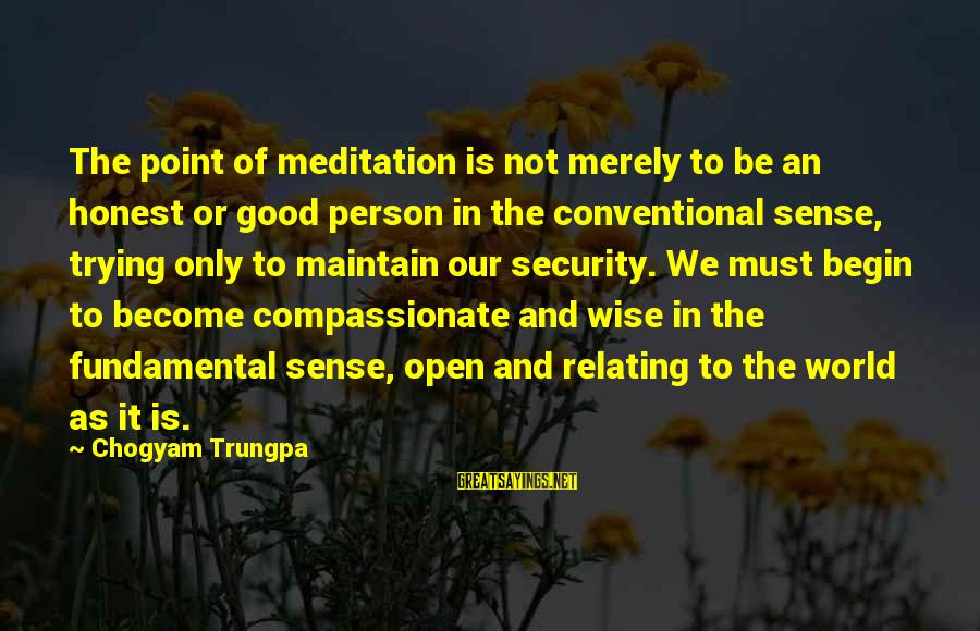 Relating Sayings By Chogyam Trungpa: The point of meditation is not merely to be an honest or good person in