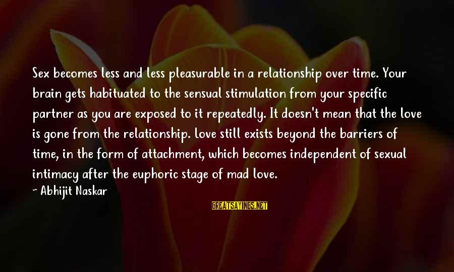 Relationship Long Term Sayings By Abhijit Naskar: Sex becomes less and less pleasurable in a relationship over time. Your brain gets habituated
