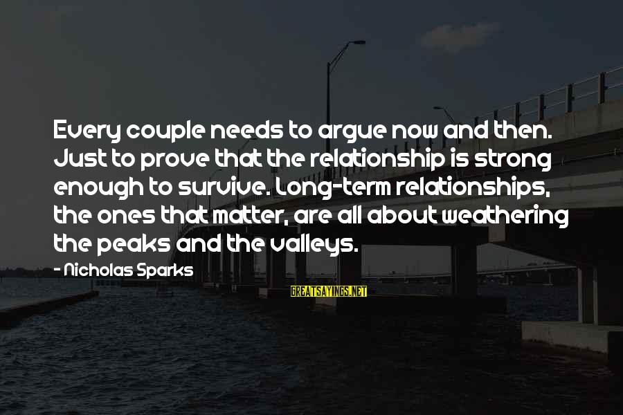 Relationship Long Term Sayings By Nicholas Sparks: Every couple needs to argue now and then. Just to prove that the relationship is