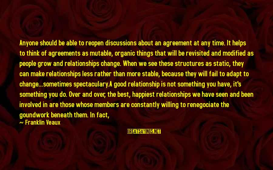 Relationship Needs Time Sayings By Franklin Veaux: Anyone should be able to reopen discussions about an agreement at any time. It helps