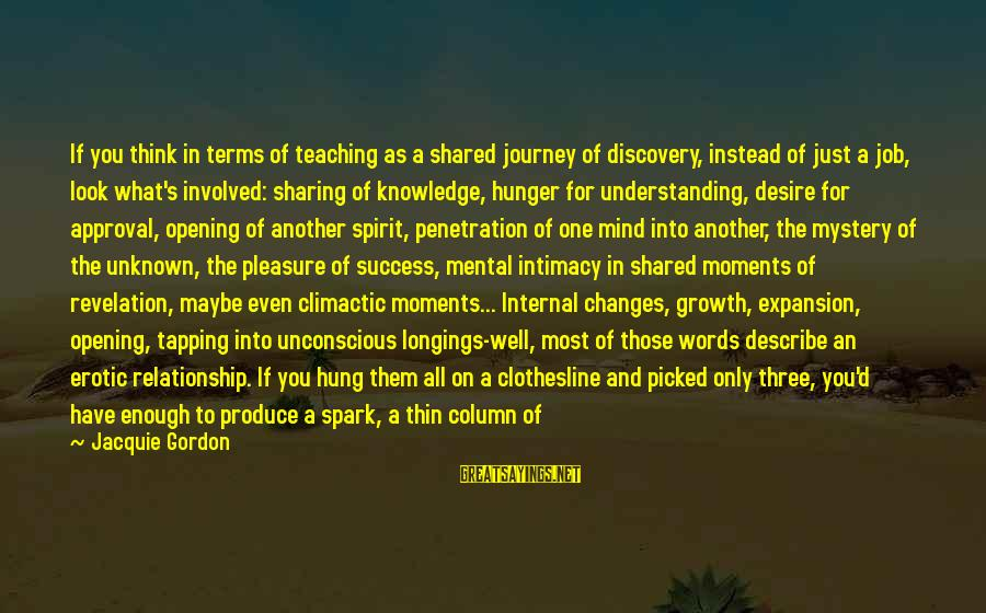 Relationship Without Intimacy Sayings By Jacquie Gordon: If you think in terms of teaching as a shared journey of discovery, instead of