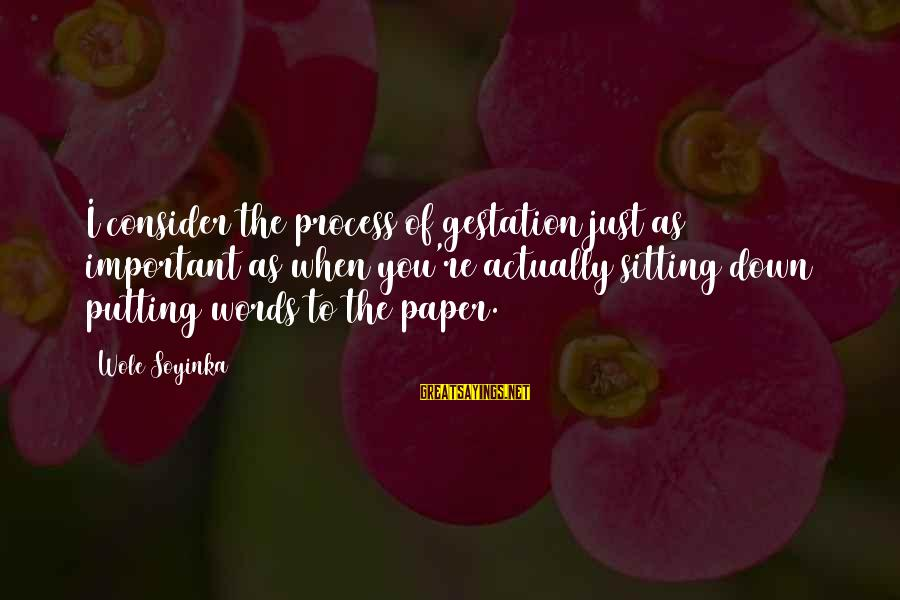 Relato Sayings By Wole Soyinka: I consider the process of gestation just as important as when you're actually sitting down