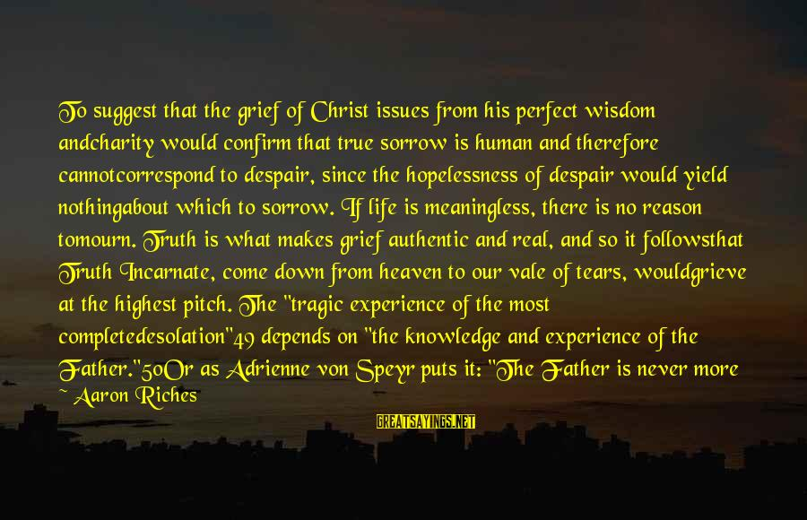 Religion And Reason Sayings By Aaron Riches: To suggest that the grief of Christ issues from his perfect wisdom andcharity would confirm