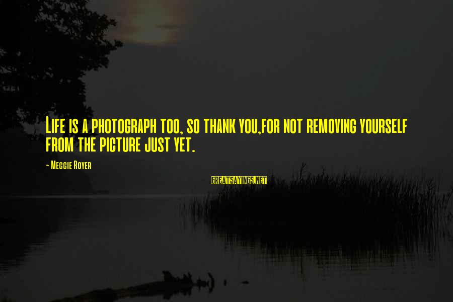 Removing Sayings By Meggie Royer: Life is a photograph too, so thank you,for not removing yourself from the picture just