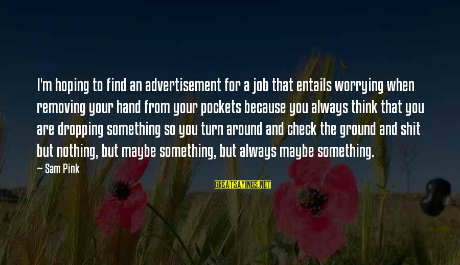Removing Sayings By Sam Pink: I'm hoping to find an advertisement for a job that entails worrying when removing your