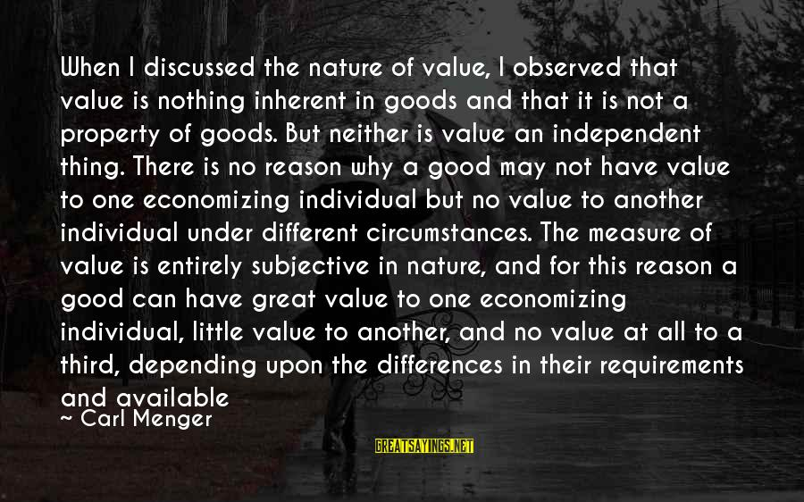Requirements Sayings By Carl Menger: When I discussed the nature of value, I observed that value is nothing inherent in