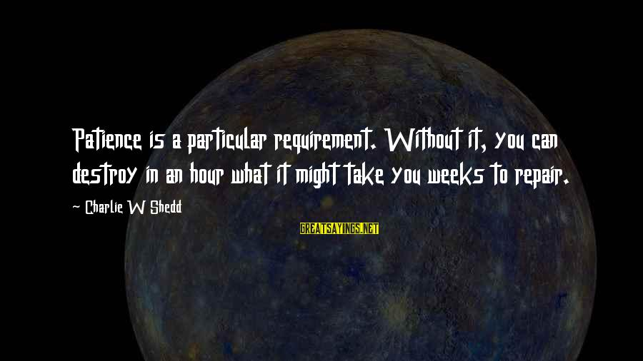 Requirements Sayings By Charlie W Shedd: Patience is a particular requirement. Without it, you can destroy in an hour what it
