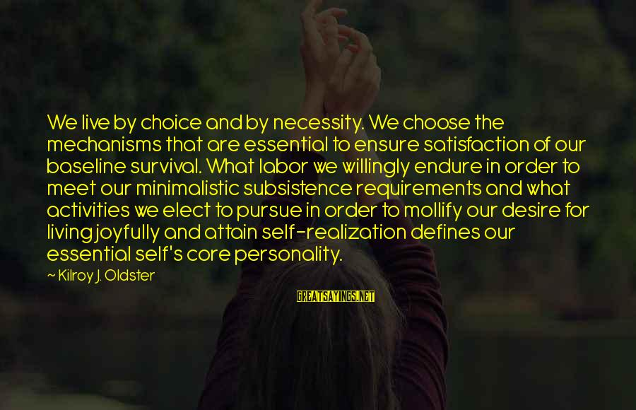 Requirements Sayings By Kilroy J. Oldster: We live by choice and by necessity. We choose the mechanisms that are essential to