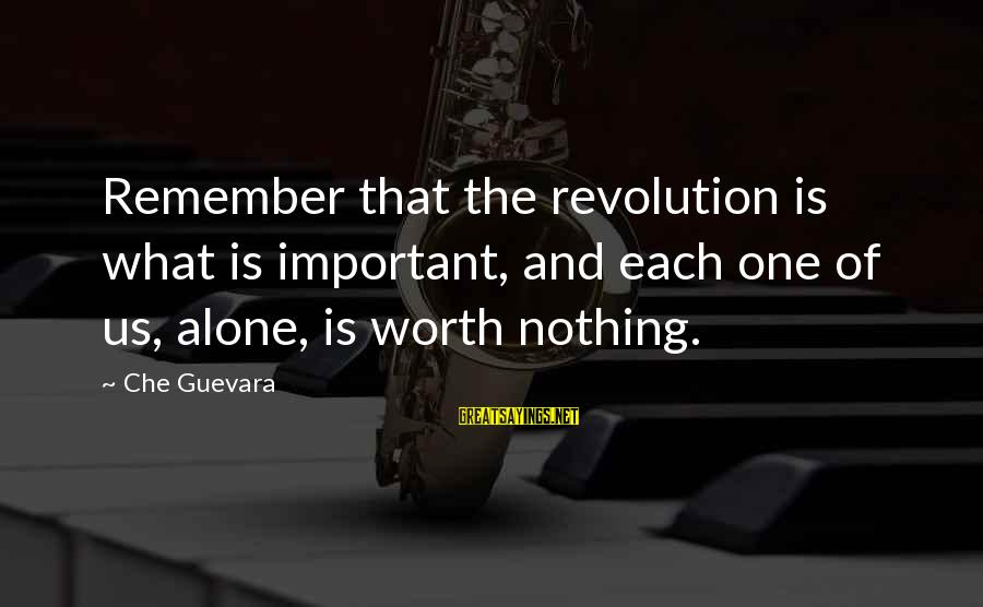 Revolution By Che Sayings By Che Guevara: Remember that the revolution is what is important, and each one of us, alone, is