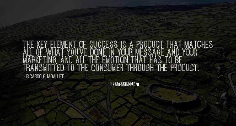 Ricardo Guadalupe Sayings: The key element of success is a product that matches all of what you've done
