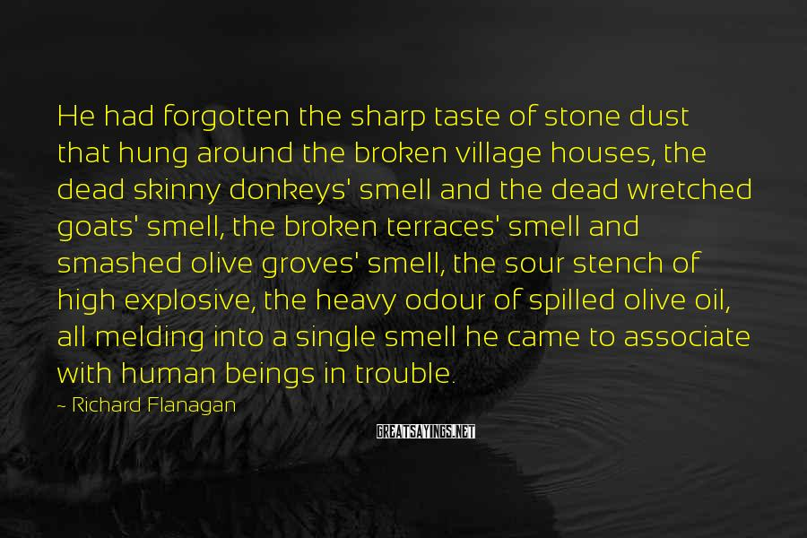 Richard Flanagan Sayings: He had forgotten the sharp taste of stone dust that hung around the broken village