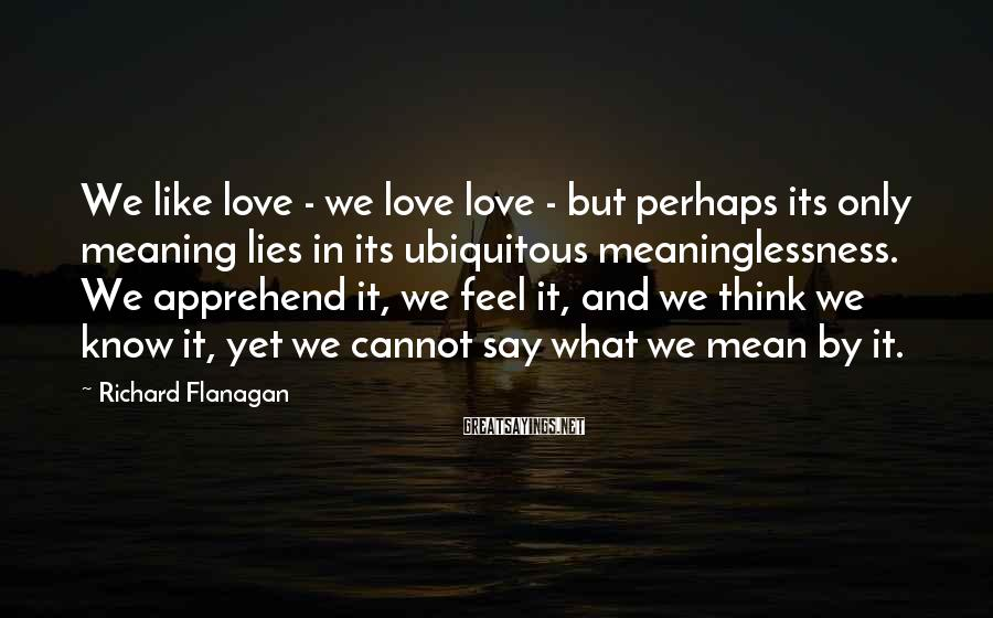 Richard Flanagan Sayings: We like love - we love love - but perhaps its only meaning lies in