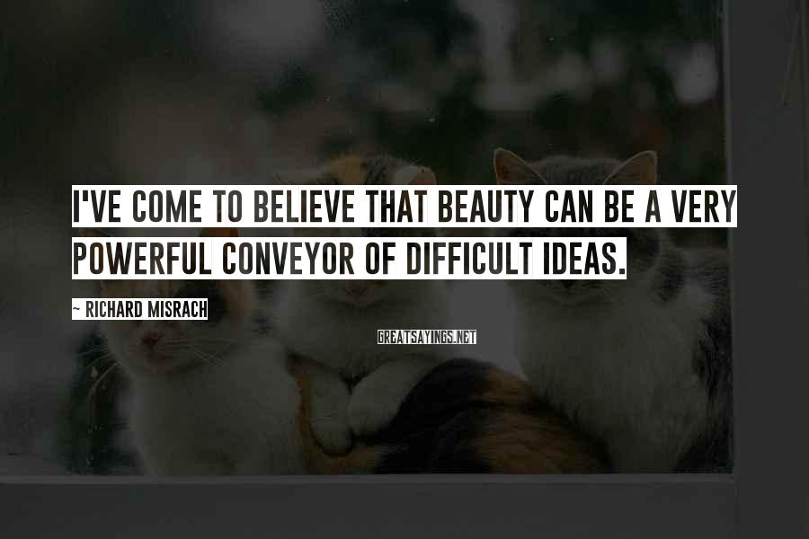 Richard Misrach Sayings: I've come to believe that beauty can be a very powerful conveyor of difficult ideas.