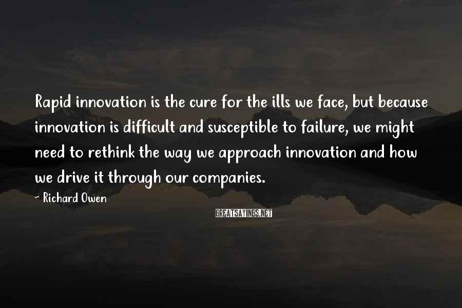 Richard Owen Sayings: Rapid innovation is the cure for the ills we face, but because innovation is difficult