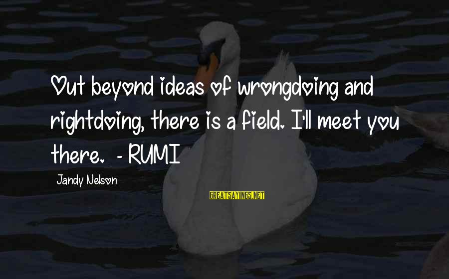 Rightdoing Sayings By Jandy Nelson: Out beyond ideas of wrongdoing and rightdoing, there is a field. I'll meet you there.