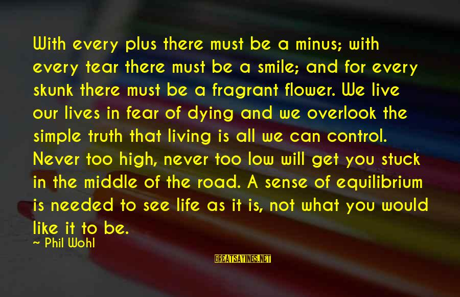 Road And Life Sayings By Phil Wohl: With every plus there must be a minus; with every tear there must be a