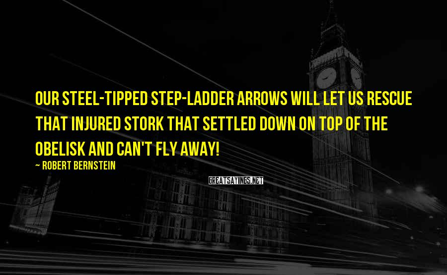 Robert Bernstein Sayings: Our steel-tipped step-ladder arrows will let us rescue that injured stork that settled down on