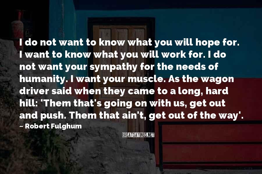 Robert Fulghum Sayings: I do not want to know what you will hope for. I want to know