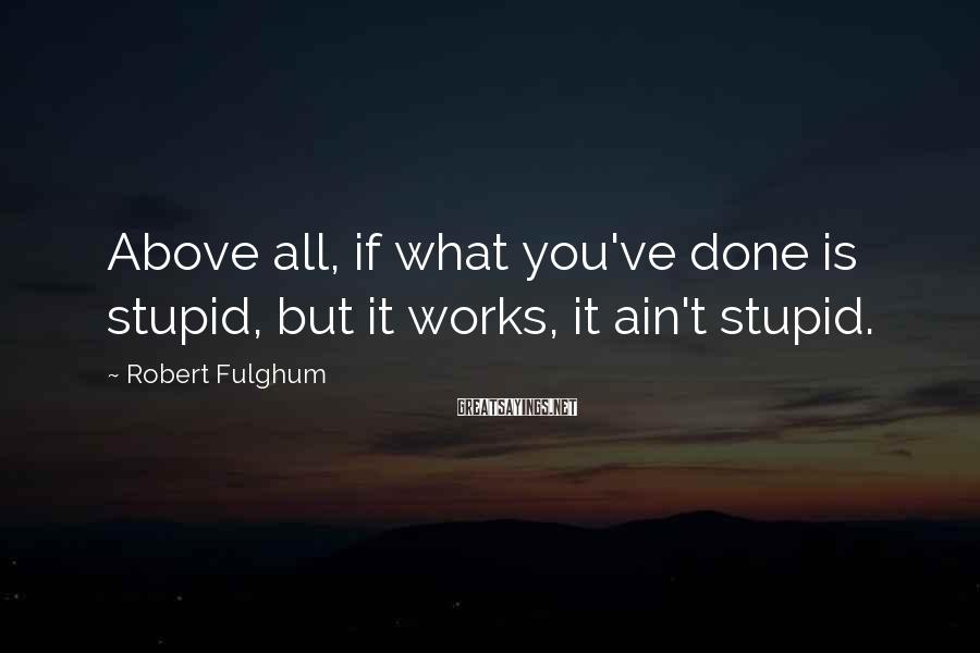 Robert Fulghum Sayings: Above all, if what you've done is stupid, but it works, it ain't stupid.