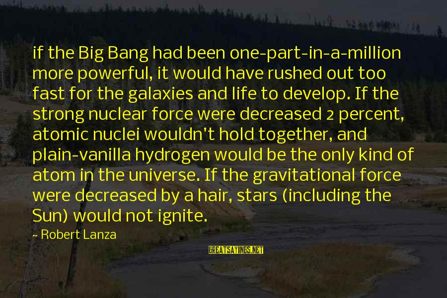Robert Lanza Sayings By Robert Lanza: if the Big Bang had been one-part-in-a-million more powerful, it would have rushed out too