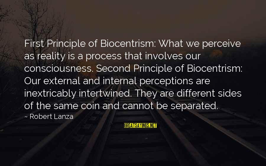 Robert Lanza Sayings By Robert Lanza: First Principle of Biocentrism: What we perceive as reality is a process that involves our
